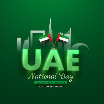 Glossy uae text with national flags and famous architecture or monuments on green background.
