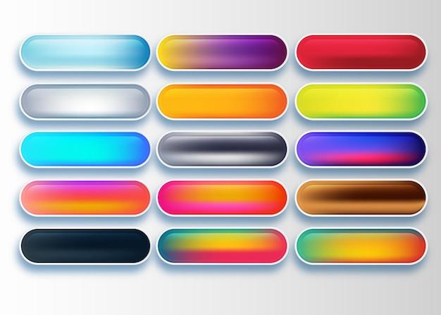 さまざまな色で設定された光沢のあるウェブボタン