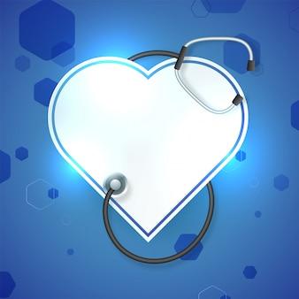 光沢のある白いペーパー医療のコンセプトのための青い背景に聴診器と心臓。
