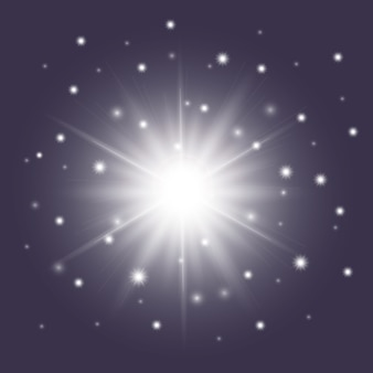 Glossy white star with sparkles
