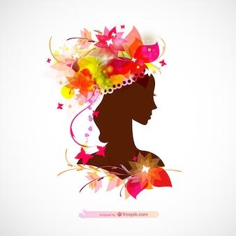 광택있는 여자 프로필 실루엣 꽃 디자인