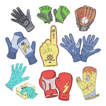 手袋ウールミトンとボクシンググローブまたは白い背景の上の手の指のニットミットの手袋イラストセットの保護ペア