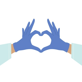 Gloved hands making heart sign isolated on white background. take care of yourself. hands in medical gloves. heart with hands. rubber gloves. virus protection.