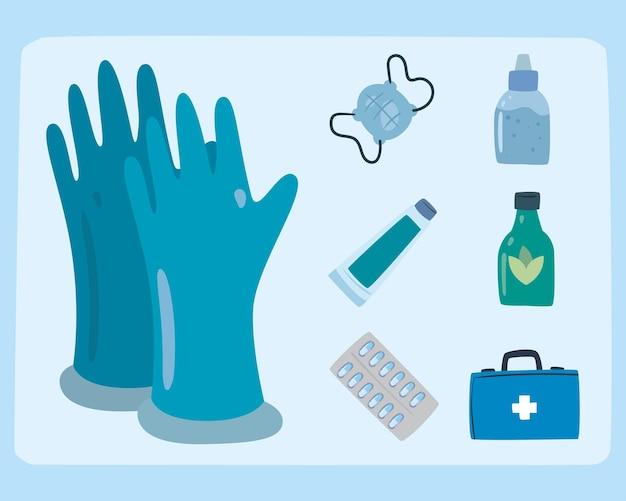 手袋と薬のアイコン