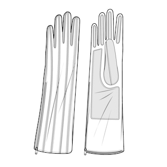 Gloves fashion flat technical drawing template