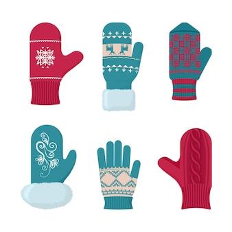 장갑 겨울 세트. 추운 계절을위한 패션 액세서리.