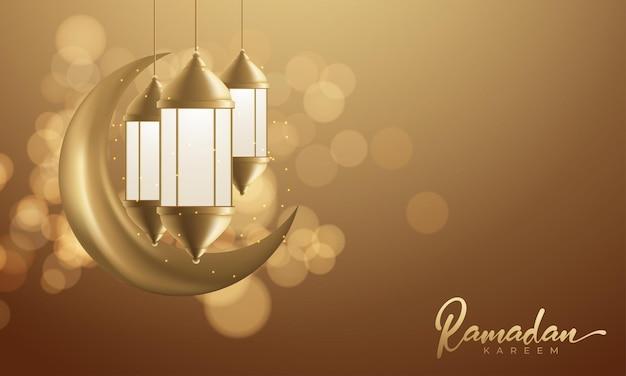 Светящийся арабский фонарь фон для исламского дизайна приветствия