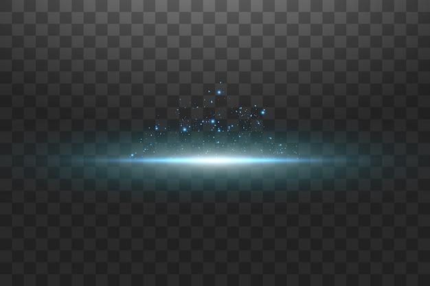 Свечение синего прозрачного эффекта, блики, взрыв, блеск, линия, солнечная вспышка, искры и звезды.