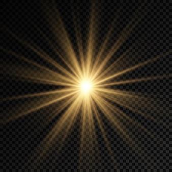 輝く明るい星輝く光バースト黄色の太陽光線太陽のフレア