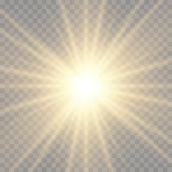 Свечение яркой звезды, солнечные лучи, золотой световой эффект, солнечная вспышка с лучами