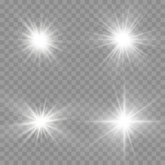 輝く明るい星、白い輝く光