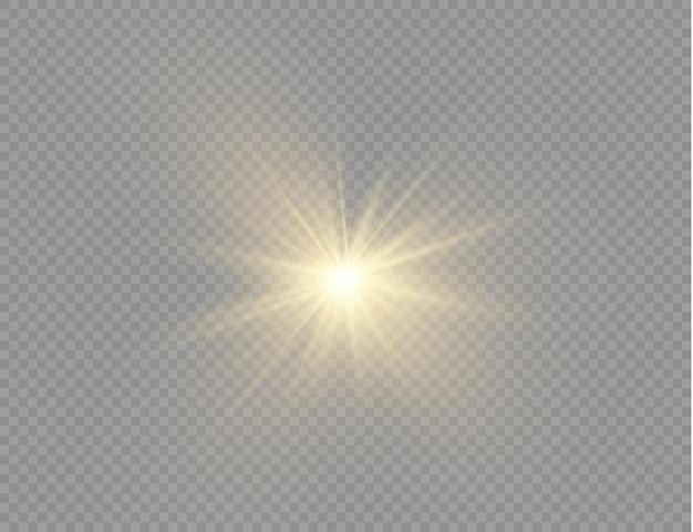 輝く明るい星黄色の輝く光