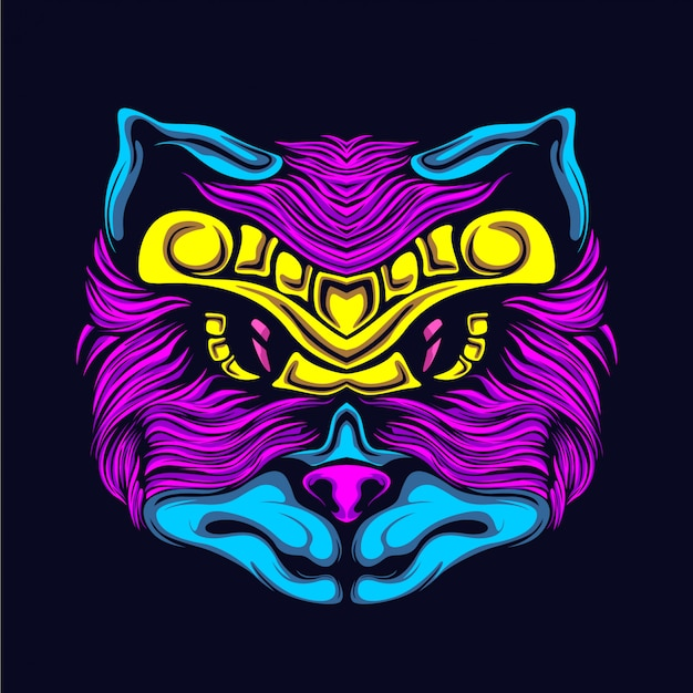 Glow cat face illustration