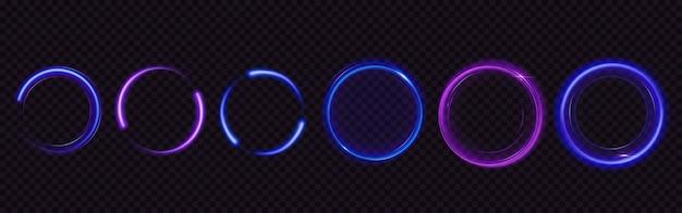 きらめき、魔法の光の効果で円を輝かせます。青と紫の光沢のあるリングと渦巻きの現実的なセット、透明な背景に分離されたキラキラのほこりとフレアトレイルの丸いフレーム