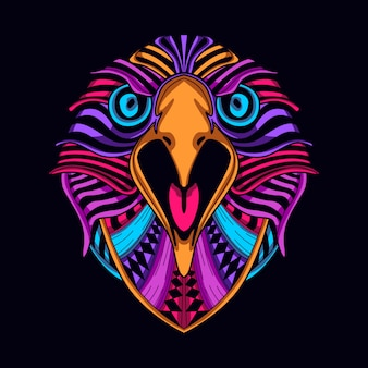 Glow color eagle face