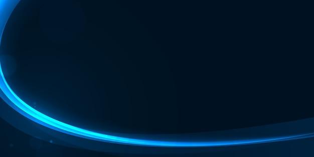 暗い青色の抽象的な背景に光るグロー曲線。