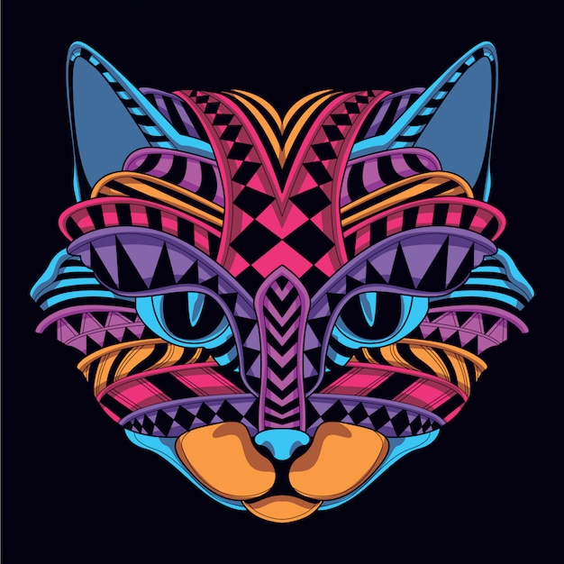 Glow in the dark decorative cat face