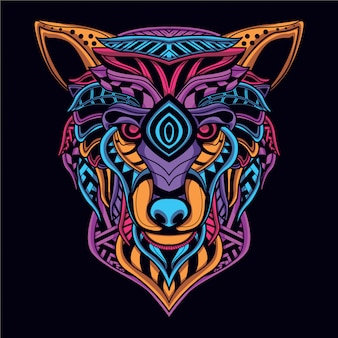 Glow in the dark decorative wolf head