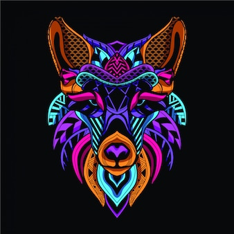 Glow in the dark decorative wolf in neon color