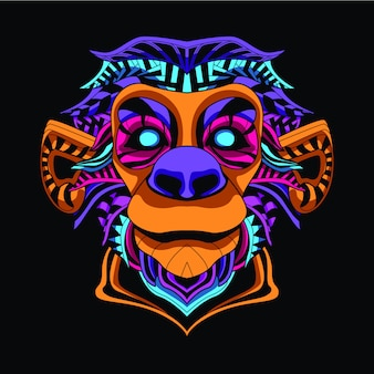 Glow in the dark monkey face