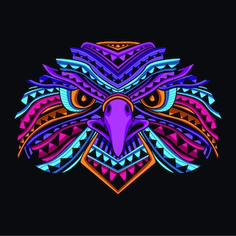 Glow eagle face in neon color