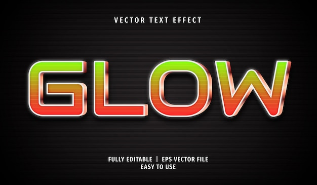 Glow editable text effect style