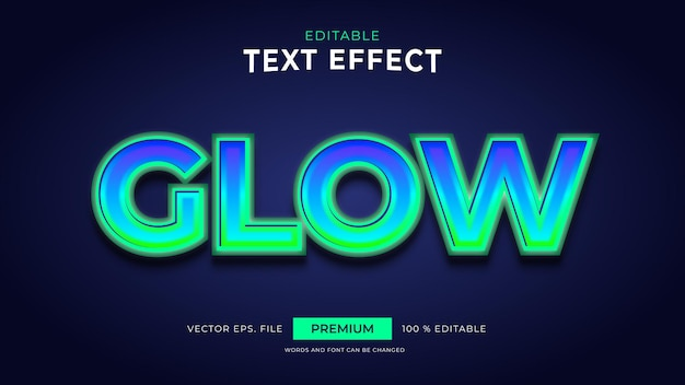 Glow editable text effects