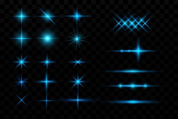 광선 효과 파란색 빛나는 입자 별 벡터 일러스트 레이 션