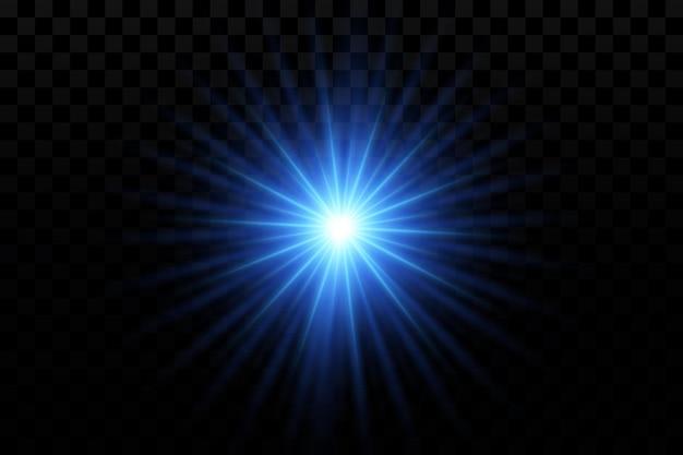 Эффект свечения синие светящиеся частицы звезды векторная иллюстрация