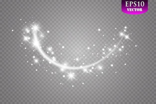 글로우 효과. 크리스마스 플래시 먼지. 혜성