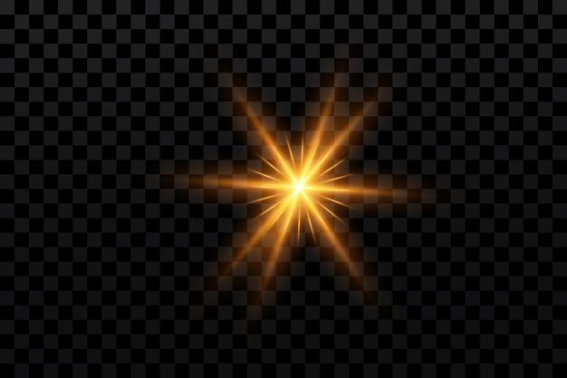 Эффект свечения золотая звезда на прозрачном