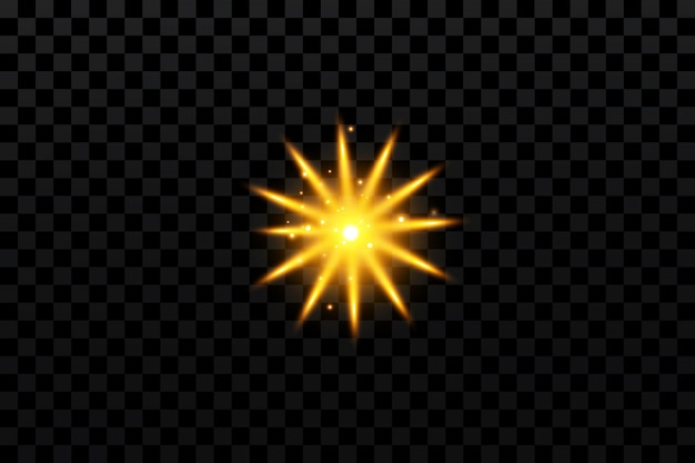 Glow effect gold star on transparent