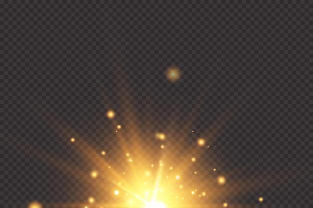 グロー効果。透明な背景に星。明るい太陽。図。