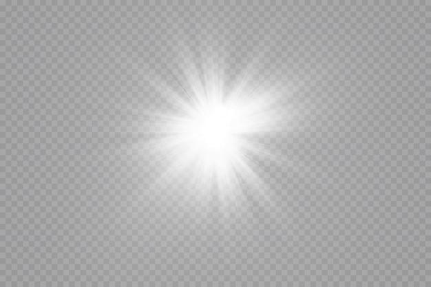 글로우 효과. 투명 배경에 별. 밝은 태양.
