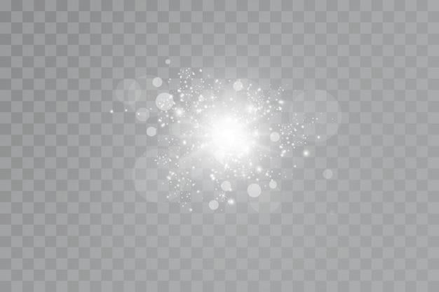 グロー効果。透明な背景に星。明るい太陽。