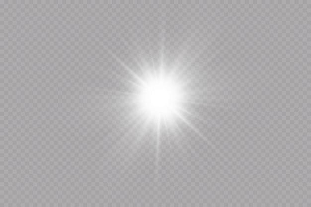 透明な背景にグロー効果星明るい太陽のベクトル図