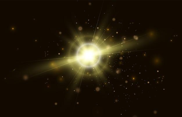검정색 배경 벡터에 반짝이는 많은 입자가 있는 광선 효과