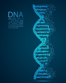 Glow glitter dna point scales on dark background with dots color blue effects.