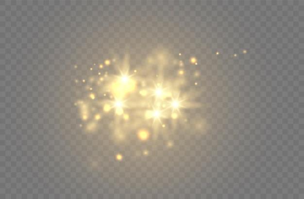 透明な背景に設定されたグローゴールデンライトスパークぼかしベクトルスパークルデザインコレクション