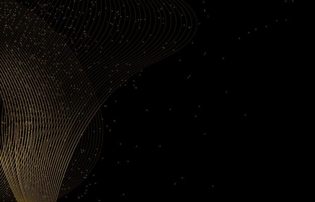검은 색 바탕에 황금 선과 입자 노을.