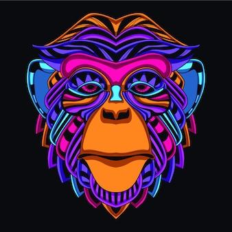 네온 컬러에서 어두운 장식 원숭이에 노을