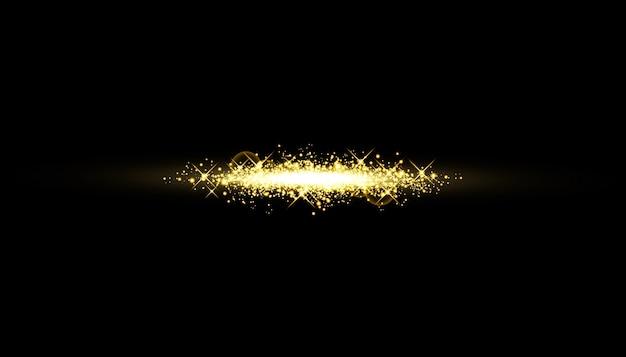 孤立した金色の効果、レンズフレア、爆発、キラキラ、ライン、太陽の閃光、火花、星を輝かせます。