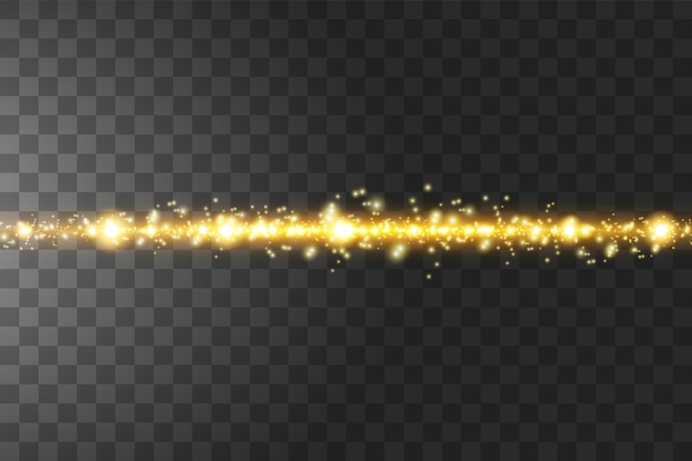 孤立した黄金の透明効果、レンズフレア、爆発、輝き、線、太陽の閃光、火花、星を輝きます。