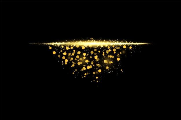 孤立した金色の透明効果、レンズフレア、爆発、キラキラ、線、太陽の閃光、火花、星を輝かせます。