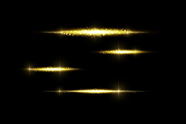 Glow isolated golden transparent effect, lens flare, explosion, glitter, line, sun flash, spark and stars.