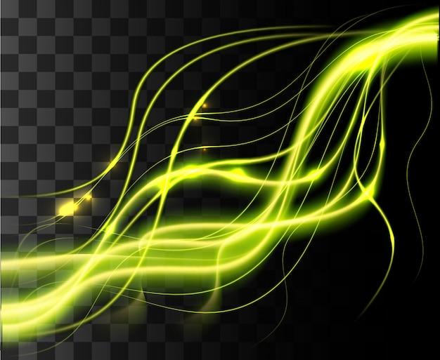광선 격리 된 녹색 투명 효과, 렌즈 플레어, 폭발, 반짝이, 선, 태양 플래시, 스파크 및 별.