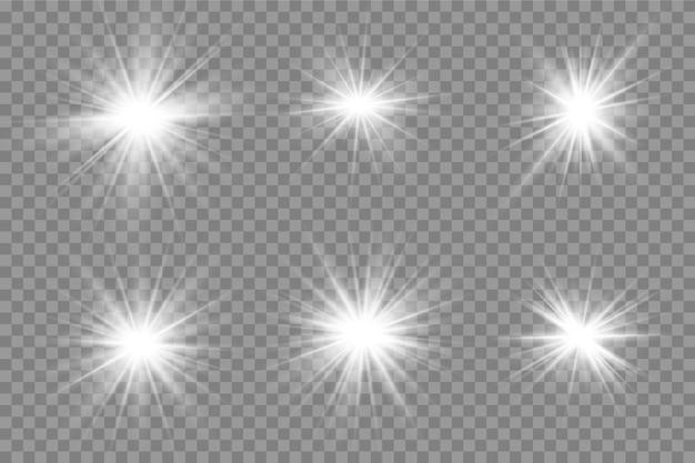 Набор светящихся изолированных белый прозрачный световой эффект, блики, взрыв, блеск, линия, солнечная вспышка, искры и звезды.