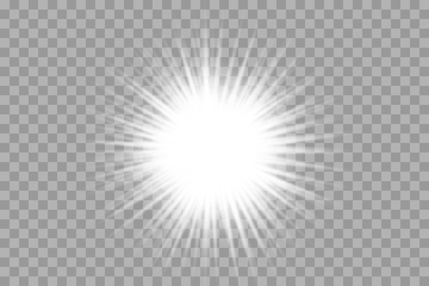 孤立した白い透明な光の効果セット、レンズフレア、爆発、キラキラ、ライン、太陽の閃光、火花、星を輝かせます。抽象的な特殊効果要素のデザイン。稲妻で光線を照らす