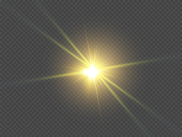 격리된 흰색 투명 조명 효과 세트, 렌즈 플레어, 폭발, 반짝이, 선, 태양 플래시, 스파크 및 별 광선. 추상 특수 효과 요소 디자인입니다. 번개로 광선을 비추다