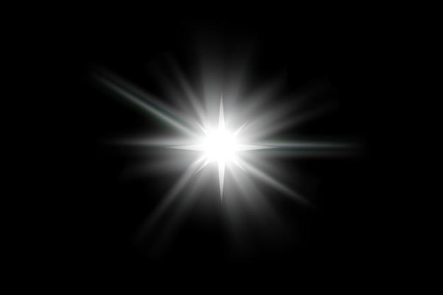 孤立した白い透明な光の効果セット、レンズフレア、爆発、キラキラ、ライン、太陽の閃光、火花、星を輝かせます。抽象的な特殊効果要素のデザイン。